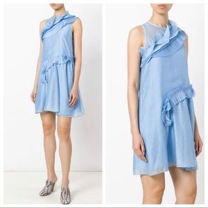 Carven France Baby Blue Silk Ruffle Trimmed Dress